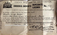 County Borough of Southampton - Omnibus Driver Licence.