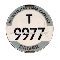 T 9977 Metropolitan Stage Carriage Drivers badge