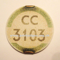 CC 3103 Early issue badge c1935/36. Issued to a Ribble Conductor
