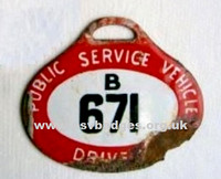 B 671 Early issue enamel hanging badge. These were replaced by the more familiar round badge in 1935