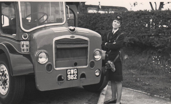 W Alexander Ltd Dunfermline Conductress beside FRD6 at Linburn Road Terminus, late 1960's early 70s