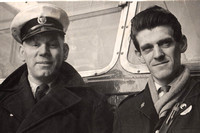 Hull Corporation Transport Motorman Ron Green with his conductor Charlie Barnes