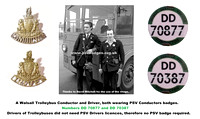 DD 70877 and DD 70387. Walsall Trolleybus crew. Both wearing Conductors badges.