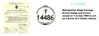 T 14486 Metropolitan Stage Carriage Trolleybus Drivers badge and licence.